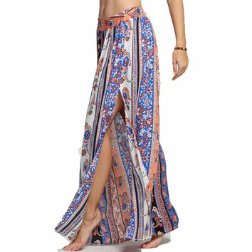 Elegant Sexy Summer Long Maxi Midi Vintage Bohemian Women Floor Skirts Tube Boho Beach Ethnic Flower Retro Party Slit Skirt 2016