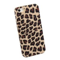 Brown Leopard Back Case / Cover for Apple iPhone 5 + Silver Stylus