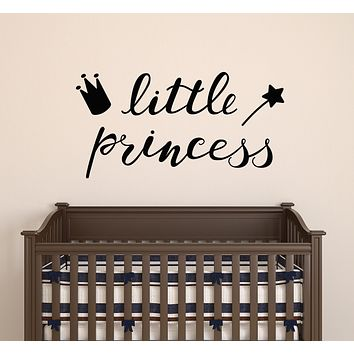 Vinyl Wall Decal Magic Wand Crown Inscription Little Princess Stickers Mural 22.5 in x 11.5 in gz184
