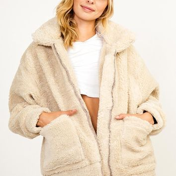 Something's Brewing Shearling Faux Fur Long Sleeve Zip Front Pocket Coat Outerwear - 2 Colors Available