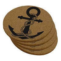 Anchor And Rope Nautical Round Cork Coaster (Set of 4)