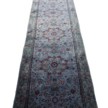 3x16 Denim Floral Area Rug Runner Overdyed Wool Rug 2778