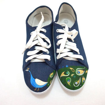 Hand painted Peacock shoes denim shoes