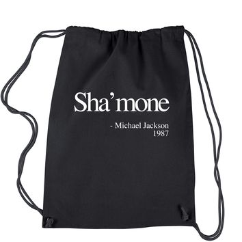 Sha'mone Quote Drawstring Backpack