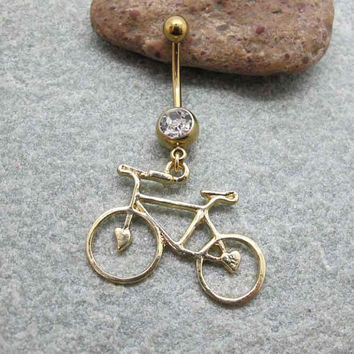Gold Bicycle Belly button Ring , Body Jewelry ,Belly Navel Ring, Friendship Belly Button Jewelry,Unique Gifts,Summer Jewelry