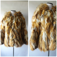 70s Rabbit Fur Hooded Jacket Vintage Brown White Gray Oversized Womens Winter Coat Size M Medium Hippie Boho Rocker Glam Jackets 1970s Coats