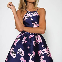 Purple Floral Print Halter A-Line Dress