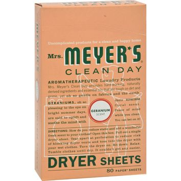 Mrs. Meyer's Dryer Sheets - Geranium - 80 Sheets