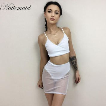 NATTEMAID Women Sexy Club vestidos 2 pieces Dresses sets Sexy Bodycon Bandage Backless see through solid night Club wears suits