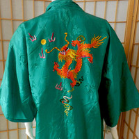 Vintage Golden Bee Chinese Green Satin Embroidered Robe , Embroidered Dragon Oriental Kimono, Size, S / M