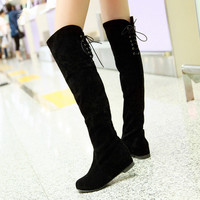 On Sale Hot Deal Height Increase Flat Winter Matte Skinny Plus Size Boots [9432962954]