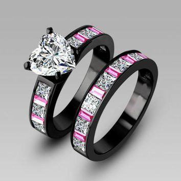 choucong Engagement Pink sapphrie 5A Zircon stone 10KT Black Gold Filled 2-in-1 Women Wedding band Ring Set Sz 5-11 Gift