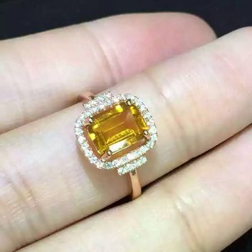 Natural citrine Ring Natural yellow crystal Ring S925 sterling silver trendy Elegant Square women girl gift Jewelry