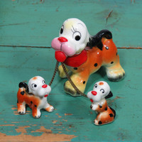 Kitschy Dog With Two Pups on Chain Leash * Spaniel Mother and Puppies * Vintage Circa 1950s * Ceramic Figurines * Mid Century Kitsch
