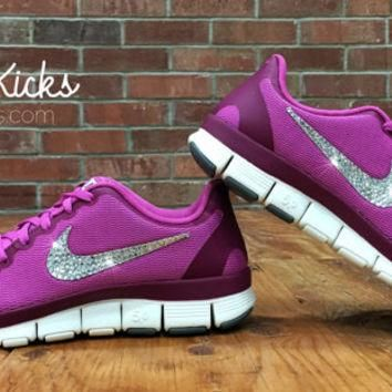 Women's Nike Free Run 5.0 V4 Running Shoes Customized With Swarovski Elements Crystal