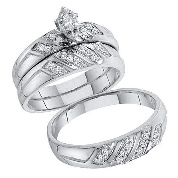 10kt White Gold His & Hers Marquise Diamond Solitaire Matching Bridal Wedding Ring Band Set 1/4 Cttw - FREE Shipping (US/CAN)