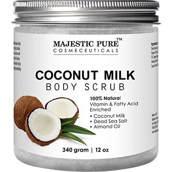 Majestic Pure Coconut Milk Body Scrub, Anti Cellulite & Exfoliator, Natural Skin Care Formula Helps...