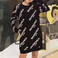 Tagre™ Balenciaga Casual Print Long Sleeve Bodycon Mini Dress