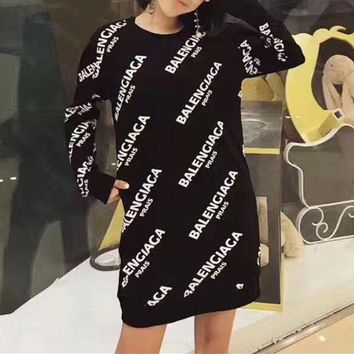 Balenciaga Casual Print Long Sleeve Bodycon Mini Dress1