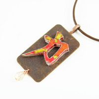 Japanese Symbol for Strength - Handmade Ceramic Necklace
