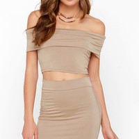 Off to the Races Dark Beige Off-the-Shoulder Two-Piece Dress