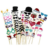 52pcs Colorful Christmas Photo Props On A Stick Mustache Glass Lips Beards Photo Booth Party Fun Wedding Favor Christmas Birthday Favor
