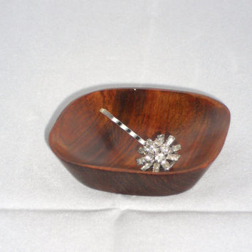 Clear Rhinestone Jeweled Bobby Pin from Upcycled Vintage Earring