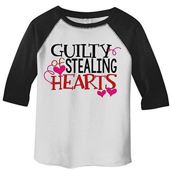 Shirts By Sarah Toddler Guilty Stealing hearts Kids Funny Valentines Day 3/4 Sleeve T-Shirt