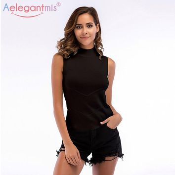 Aelegantmis Spring New Fashion Sleeveless Knitted Tank Top Women Turtleneck Solid Color Slim Top Tees Ladies Knitwear