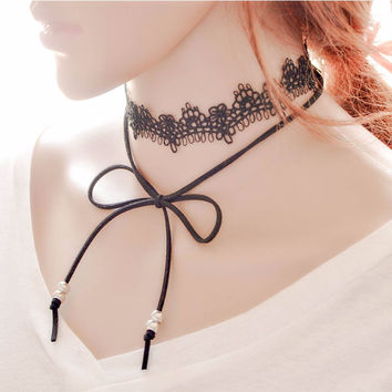 Women Necklace Bow Lace Clavicle Black Chain Necklaces Collar Choker Jewelry Gift for girl CF