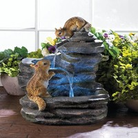 Charming Chipmunks Outdoor Water Fountain
