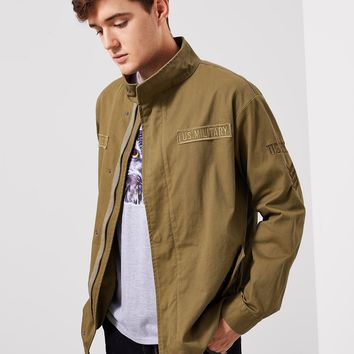 Men Letter Patched Flap Pocket Coat