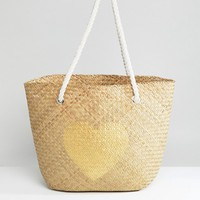 South Beach Natural Straw Beach Bag with Gold Heart at asos.com