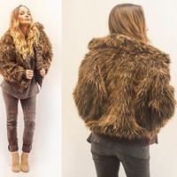 Brown Super Shaggy Faux Fur Bomber Jacket | Womens M L or Mens S M | 90s does 70s Hippie Funky Shag Coat