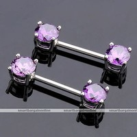 "2pcs Purple CZ Gem Nipple Ring 14g Steel 9/16"" Bar Barbell Piercing Jewelry Punk"