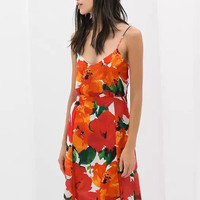Red Floral Sleeveless Cut-Out Back A-line Mini Dress