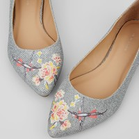 Silver Glittter Floral Embroidered Pointed Pumps | New Look