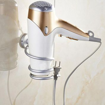 Wall Mounted Chrome Hair Dryer Holder Rack Storage Tail With Plug Hook
