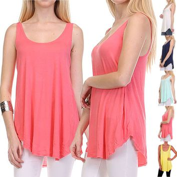 Solid Plain Sleeveless Long Jersey Tunic Tee Shirt Loose Tank Top