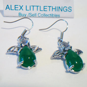 Green Jade Cabochon Angel Earrings Dangle Drop Wire Hook Jewelry Silver Tone