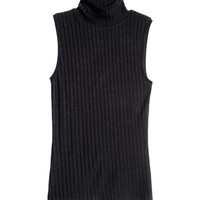 Sleeveless polo-neck top - from H&M