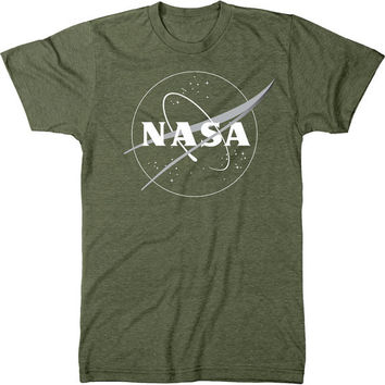 NASA Meatball Logo White Outline Mens Tri-blend T-shirt