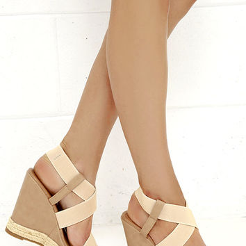 Ashore Bet Beige Platform Wedge Sandals