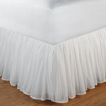 "Cotton Voile White Color Full Bed Skirt 18""-Greenland Home Fashions Accessories Collection"