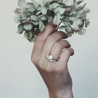 Flower engagement ring, sterling silver ring, lily of the valley ring, proposal ring, promise ring, romantic jewelry, gift women, delicate
