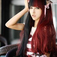 31.5Inch Red and Black Color Matching Long Full Hair Wigs with Bangs for Women = 1845640004