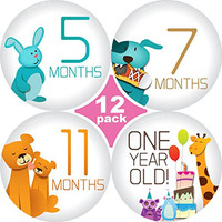 """Huge sale! 12 Pack of 3.25"""" Premium Baby Monthly Stickers By Stick'Nsnap(TM) 1 Happy Animal Sticker Per Month of Your Baby's First Year Growth. Month Sticker for Baby, Boy or Girl. Milestone Onesuit Stickers - Best Shower Gift!"""