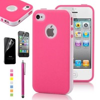 Pandamimi ULAK Deluxe Fashion Sweety Girls Style TPU + PC 2-in-1 Hard Case Cover for Apple iPhone 4 4G 4S with Screen Protector and Rose Pink Stylus (Rose Pink)
