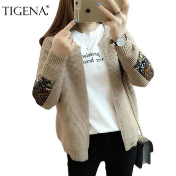 TIGENA 2018 Autumn Winter New Casual Patchwork Cardigans Women Long Sleeve Knitted Sweater Cardigan Female Winter Jacket Coat