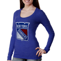 Majestic Threads New York Rangers Women's Team Logo T-Shirt - Royal Blue